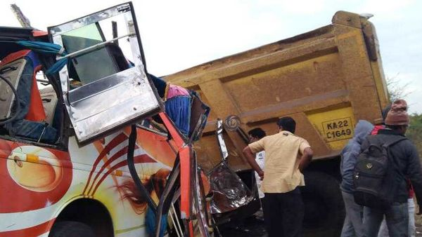 A truck and bus after a road accident in Dharwad on Friday. (File Photo)