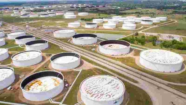 FILE PHOTO: Crude oil storage tanks are seen in an aerial photograph at the Cushing oil hub in Cushing, Oklahoma, US. (Representational photo) (REUTERS)