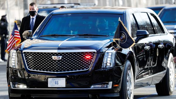 The presidential limousine, also called The Beast, is famed as one of the most secure vehicles in the world. It is also a fuel guzzler. It isn't clear if Joe Biden will also opt for an EV version of his personal ride. (REUTERS)