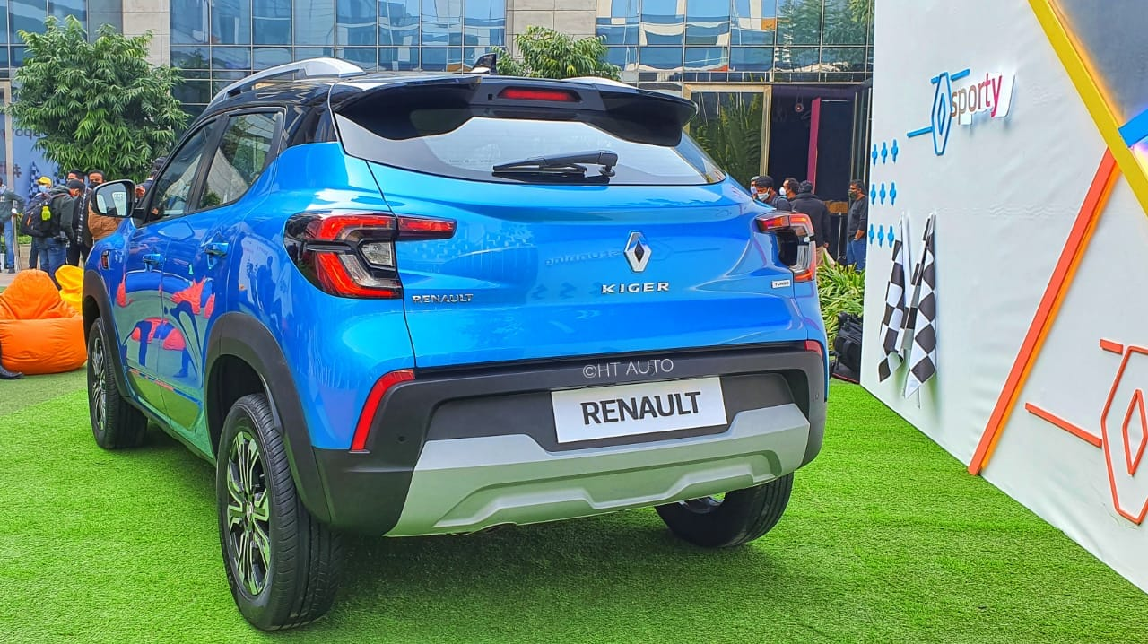 The rear of the new Renault Kiger comes with inverted C-shaped LED tail lamps which look sharp and modern, complementing the exterior of the car. (Image: HT Auto/Sabysachi Dasgupta)