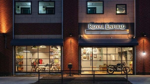 An outside view of Royal Enfield's first standalone store in Japan, in Tokyo.