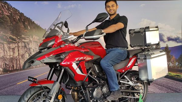 Mr. Vikas Jhabakh, Managing Director, Benelli India posing with the newly launched 2021 TRK 502 BS 6.