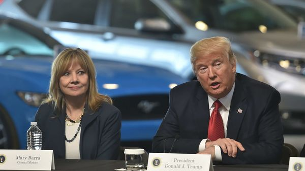 Representational Image: Former President Donald Trump is seen with General Motors CEO Mary Barra. (File Photo) (AFP)