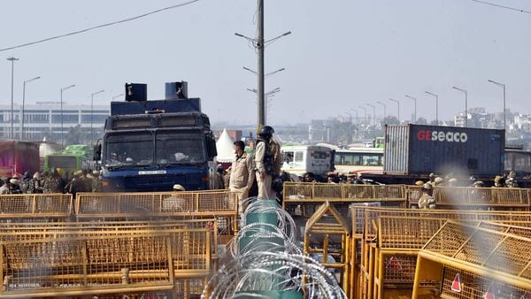 Barricades being put up as security on high alert during Chakka Jam by farmers against farm bills, at the Delhi-Ghazipur border in New Delhi on Saturday. (ANI Photo)