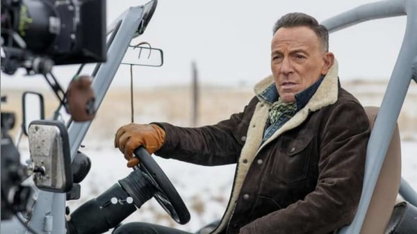 Bruce Springsteen seen during Jeep's commercial shoot for the Super Bowl advertisement.
