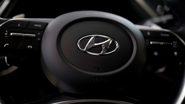 FILE PHOTO: The logo of Hyundai Motors is seen on a steering wheel on display at the company's headquarters in Seoul, South Korea. (REUTERS)