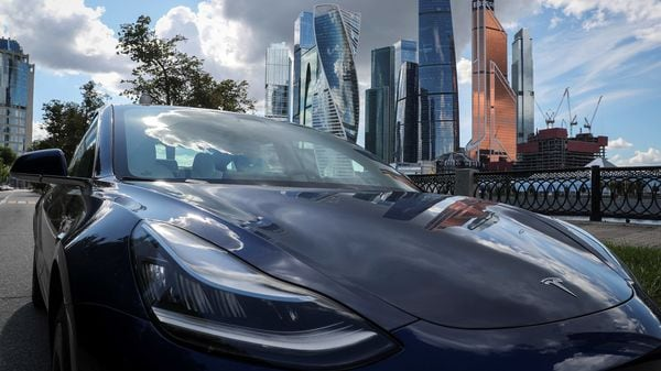 A Tesla Model 3 electric vehicle is shown in this picture illustration taken in Moscow. (File Photo) (REUTERS)
