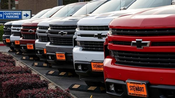 General Motors Co. Chevrolet Silverado pickup trucks for sale at a car dealership in Colma, California, U.S., on Monday, Feb. 8, 2021. General Motors Co. is scheduled to release earnings figures on February 10. Photographer: David Paul Morris/Bloomberg (Bloomberg)