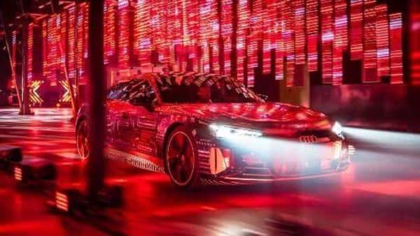 The Audi e-tron GT gets Matrix LED headlight units as an optional extra.