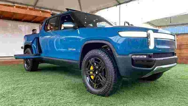 The Rivian R1T all-electric truck is pictured at an event. (File photo) (REUTERS)