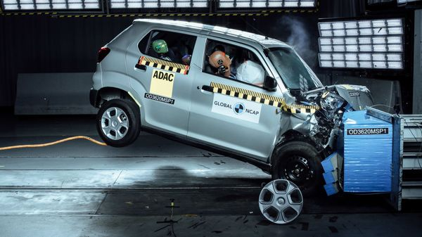 Representational Image of an S-Presso during a crash test conducted by Global NCAP.