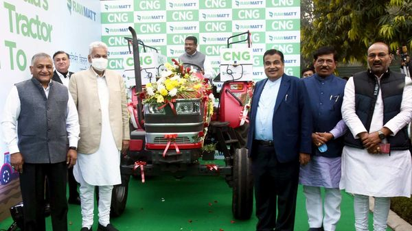 Union Minister for Road Transport & Highways and Micro, Small & Medium Enterprises Nitin Gadkari and the Union Minister for Petroleum & Natural Gas and Steel Dharmendra Pradhan launches India's first CNG tractor, in New Delhi.