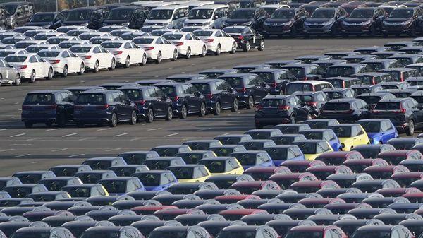 File photo of Honda vehicles lined up at a shipping yard. (Bloomberg)