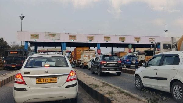File photo: Vehicles line up at a toll booth on the Gurugram-Manesar highway.