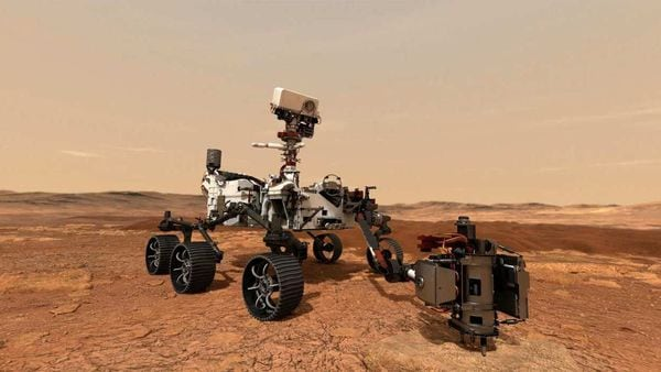 Perseverance rover uses its drill to collect a rock sample on Mars in this undated artistic conceptual illustration handout. (via REUTERS)