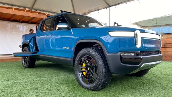FILE PHOTO: The Rivian R1T all-electric truck is pictured at an event, held by the electric vehicle startup, for customers who preordered the truck, in Mill Valley, California, U.S., January 25, 2020. REUTERS/Nathan Frandino/File Photo (REUTERS)