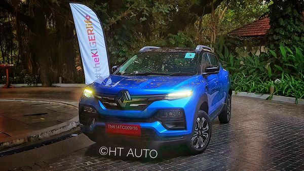 Renault is hoping Kiger is able to storm the sub-compact SUV by making use of its sporty looks and a spacious cabin. (HT Auto/Sabyasachi Dasgupta)