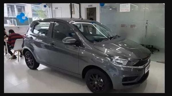 The spotted Tata Tiago limited edition can be seen finished in a shade of Daytona Grey. Image Credits: YouTube/ TheCarsShow by Arsh Jolly