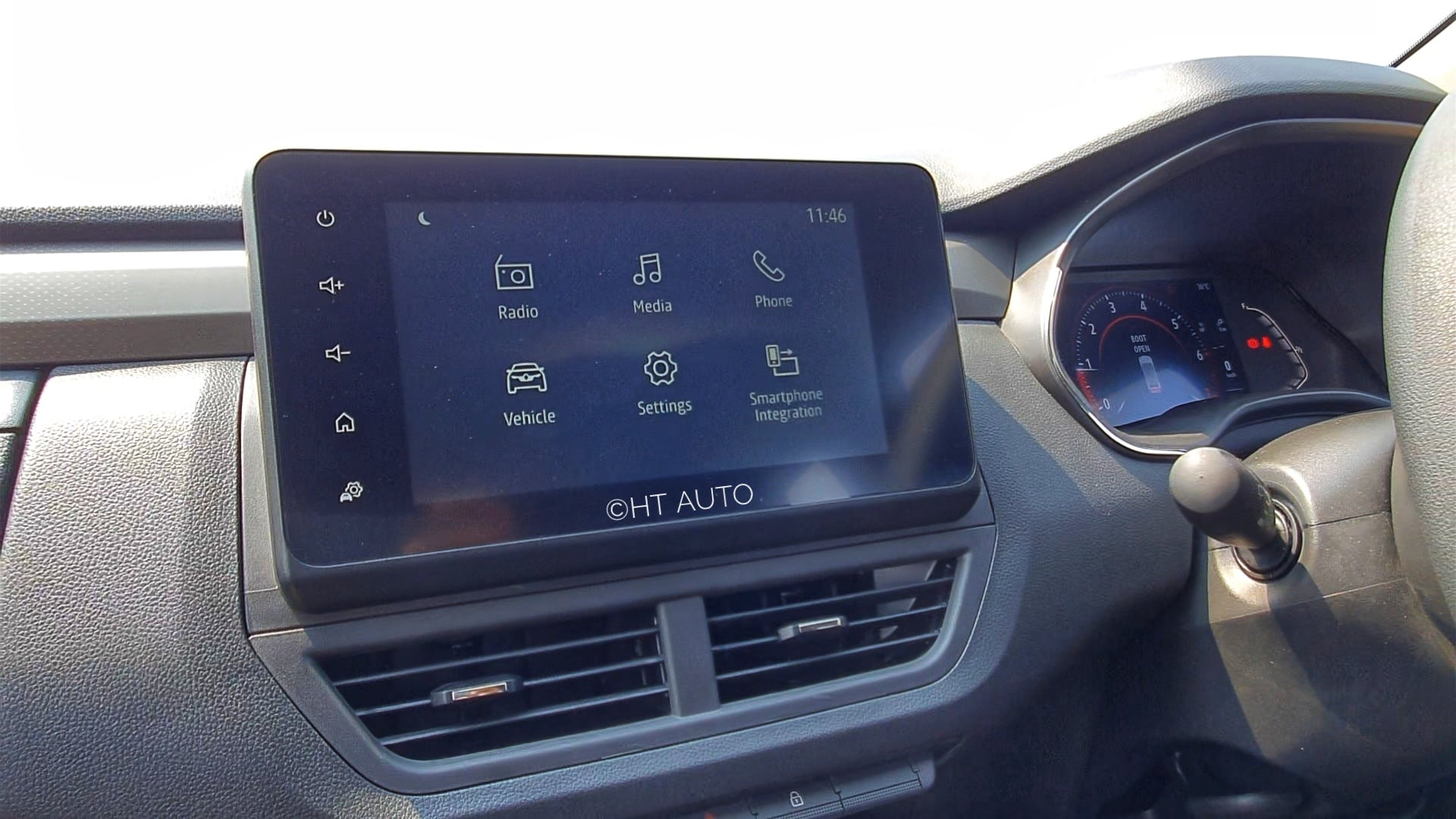 There is a lot of reflection from the eight-inch infotainment screen inside Kiger but the large font and responsive touch more than makes up for it. (HT Auto/Sabyasachi Dasgupta)