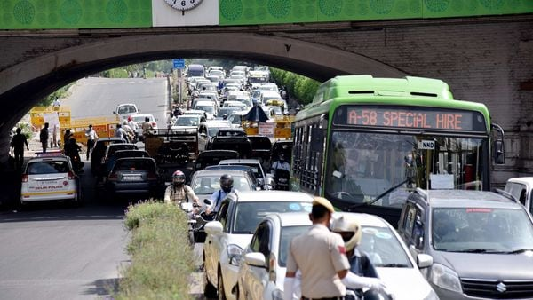 Vehicles stuck in a massive traffic jam during a government-imposed lockdown as a preventive measure against the coronavirus at Minto Road near Connaught Place in New Delhi.