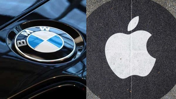 Logos of BMW (L) and Apple