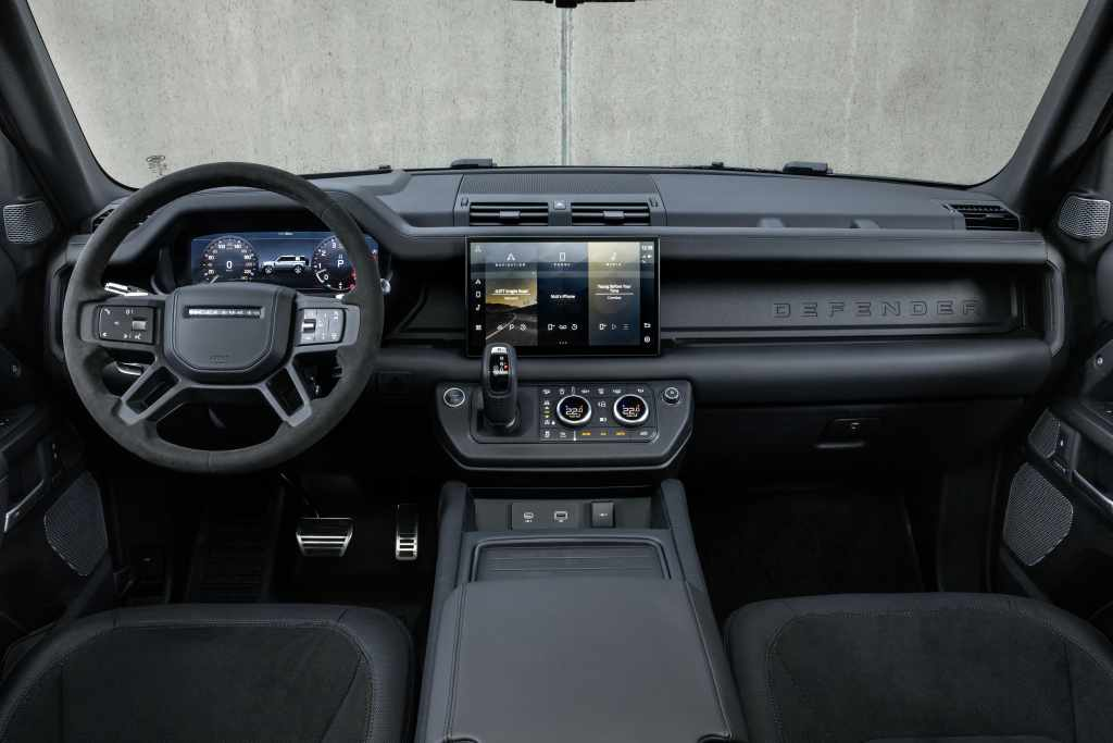 Indise, there is Ebony Windsor black leather upholstery and Alcantara-wrapped steering wheel. It also gets a new curved centre 11.4-inch touchscreen appearing in the options catalog for the Defender line.