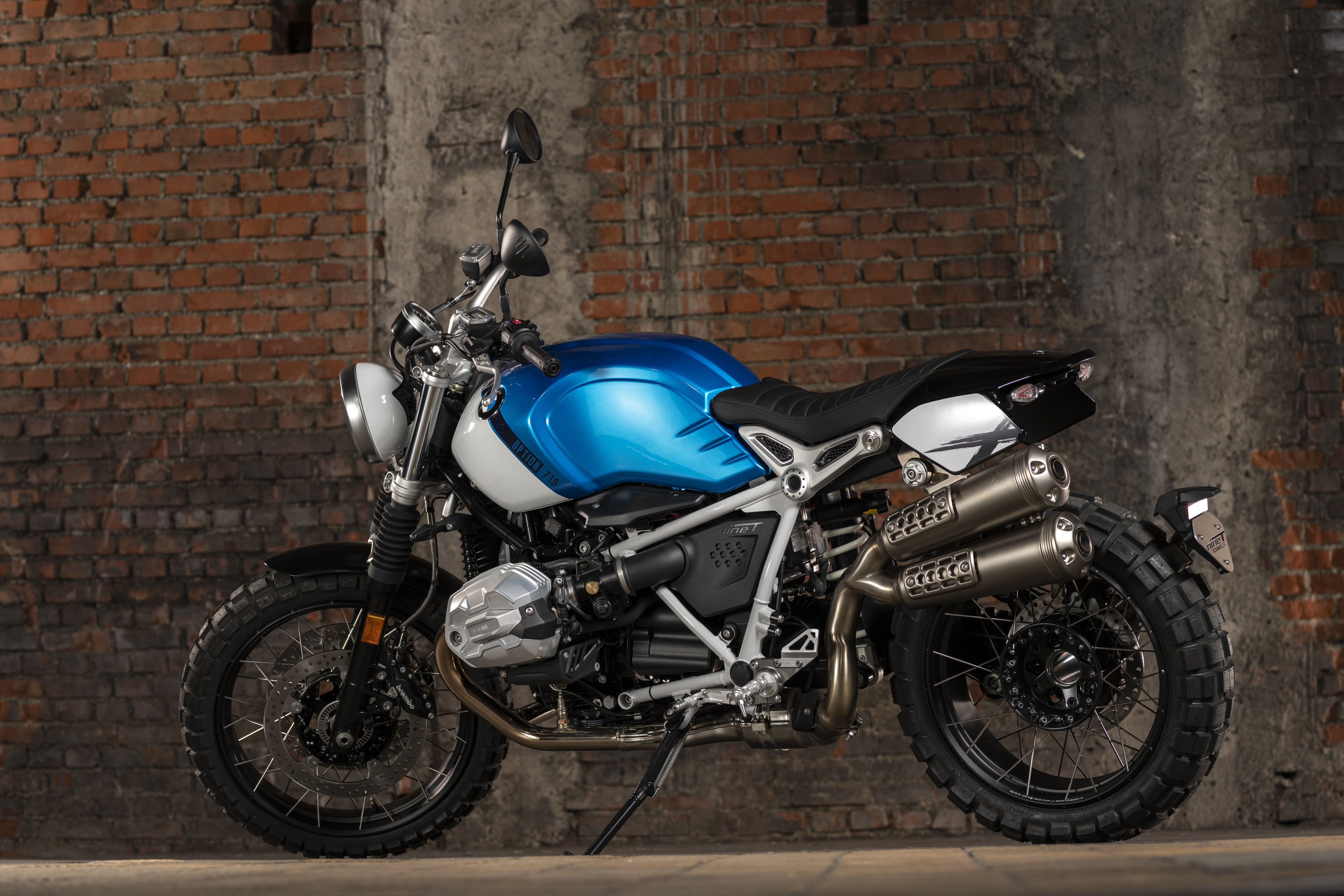 The new BMW R nineT has been introduced in a range of colour options including Blackstorm Metallic, Brushed Aluminium and Option 719 Aluminium, among others. The R nineT Scrambler features four new colour options such as Granite Gray Metallic, Cosmic Blue Metallic/Light White and Black Storm Metallic, among others. (In pic: R nineT Scrambler)