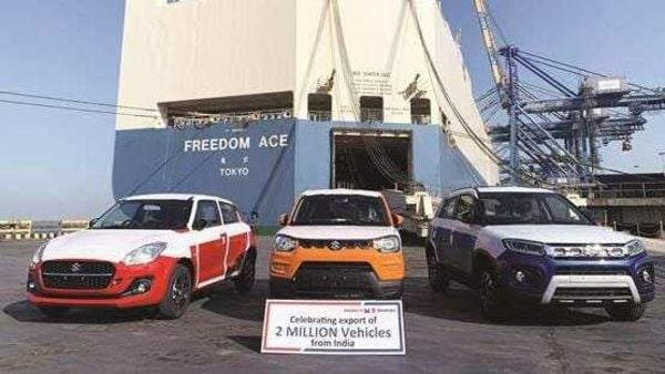 Swift, S-Presso and Vitara Brezza units line up at Mundra Port in Gujarat for export to the South African market.