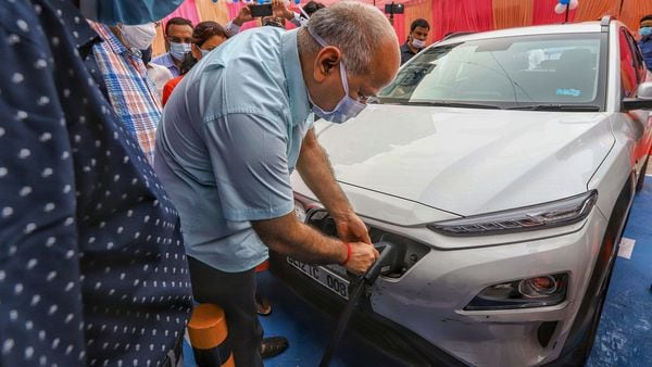 Delhi's Deputy Chief Minister Manish Sisodia during the inauguration of an electric vehicle charging station, at 11KV substation, Patparganj. (PTI)