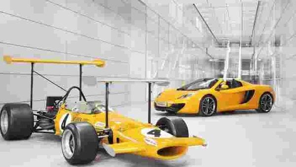 The-1969-McLaren-F1-M7C-is-seen-here-alongside-the-12C-Spider-Photo-AFP