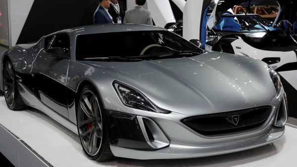A Rimac Automobili Concept One electric supercar, worth $1.2 million and one of only eight made, is displayed at the 2017 New York International Auto Show in New York City, U.S. (REUTERS)