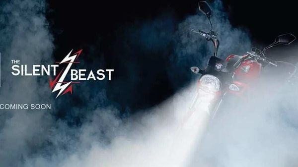 The teaser image shows a very familiar silhouette of a Ducati Monster naked roadster inspired EV.