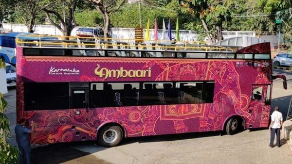Mysuru's Ambaari double-decker bus, inspired by London's Big Bus, hits the road. (Photo courtesy: Twitter/@kstdc)