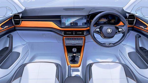 Skoda has revealed sketched of Kushaq SUV's interior design.