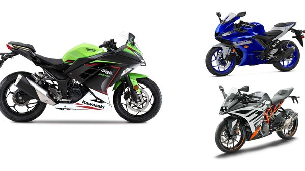 Ninja 300 competes against the RC 390 and the YZF R3 sports bikes.