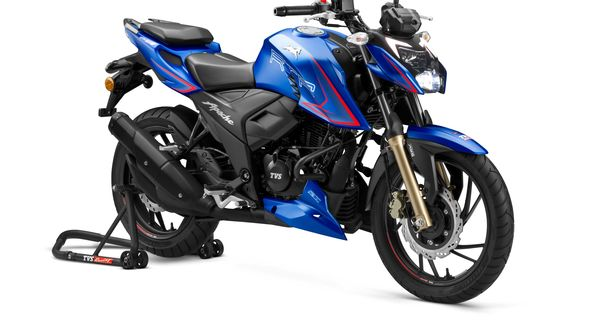 TVS Apache RTR 200 4V Single-Channel ABS in the recently launched Matte Blue paint scheme.