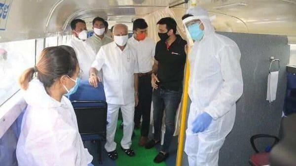 Karnataka CM BS Yediyurappa inside a medical bus that will ply on Bengaluru roads.