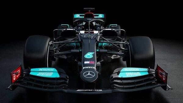 Photo of Mercedes F1 team car for 2021 season. (Image courtesy Twitter/@MercedesAMGF1)