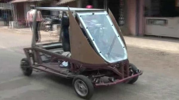 A farmer in Mayurbhanj has built a four-wheeled electric vehicle that runs on battery & charged using solar power, (Photo courtesy: Twitter/@ANI)
