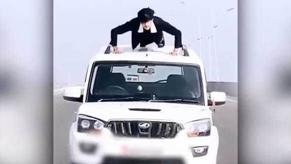 Screengrab from the stunt video shared by Uttar Pradesh Police on Twitter. (Photo courtesy: Twitter/@@Uppolice)