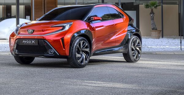 Toyota's Aygo X Prologue concept car was showcased with bold looks.