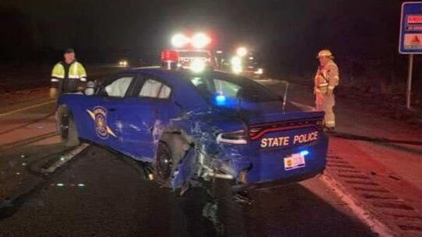 Photo of the damaged US Police patrol car after it was hit by a Tesla Model Y being driven in Autopilot. (Photo courtesy: Twitter/@MSPFirstDist)