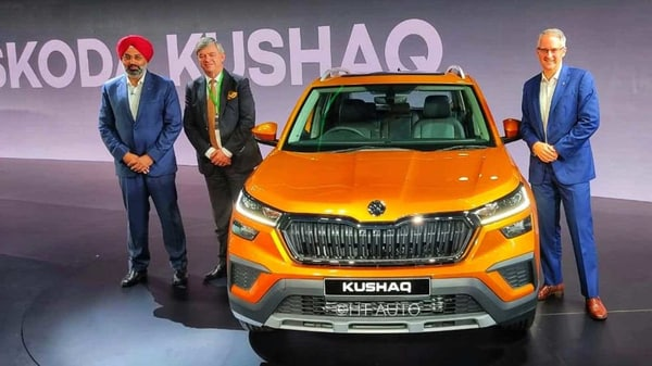Skoda has unveiled its much awaited latest offering, the 2021 Kushaq SUV, during a global premiere in Mumbai. The SUV is the production version of the Skoda VISION IN concept SUV that was showcased during the Auto Expo last year. The company also celebrated its 20th year in India. (Photo: Prashant Singh/ HT Auto)