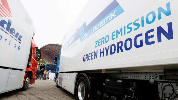 File photo of a new hydrogen fuel cell truck made by Hyundai. (REUTERS)