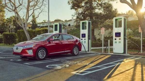 2021 Hyundai Ioniq at an Electrify America charging station in the US.