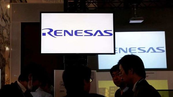 Renesas Electronics Corp's logos are pictured at a conference in Tokyo, Japan. (File Photo) (REUTERS)