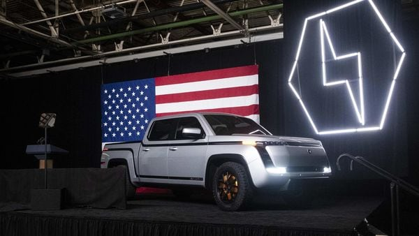 The Lordstown Motors Endurance electric pickup truck sits on stage during an unveiling event in Ohio on June 25. (Bloomberg)