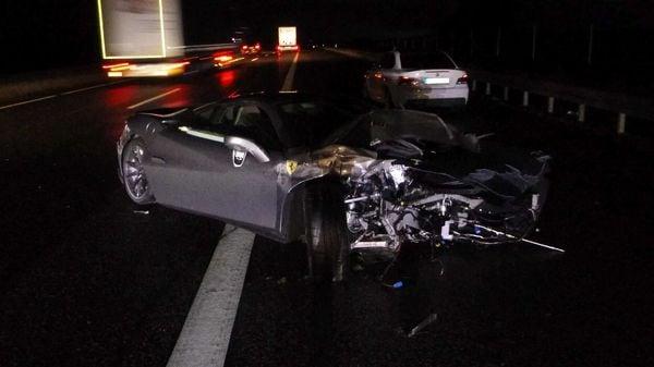 Crashed Ferrari F8 Tributo (Image: Polizei Hessen)