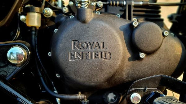 Representational file photo of Royal Enfield logo on the newly developed 349 cc engine of Meteor 350.