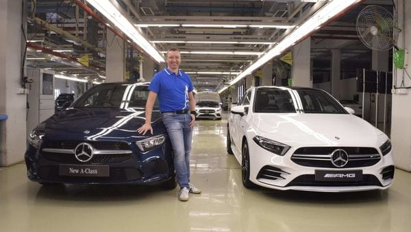 Martin Schwenk, MD and CEO at Mercedes-Benz India, seen here with the A-Class Limousine and the A35 AMG.